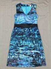 ASHLEA BROOKE Druckkleid Kleid Gr. 34 Blau schwarz Neu