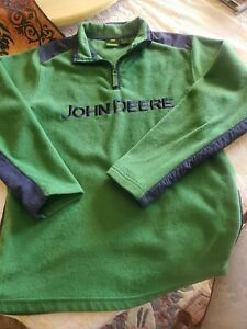 Boys John Deere Green Fleece 1/4 Zip Pullover Sweatshirt Embroider Logo Size L