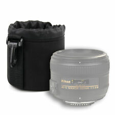 Small Neoprene Protective Pouch for Nikon AF-S Nikkor 50mm f/1.8G Lens in Black