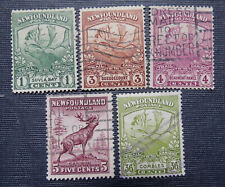 NEWFOUNDLAND 5 TRAIL of the CARIBOU STAMPS 1,3,4,5 & 36 Cents Scott 115 126...