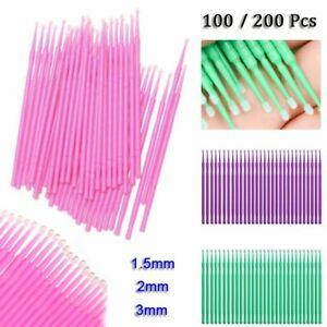 100/200x Microbrush Microstäbchen Minipinsel Pinsel Lacktupfer Applikator Einweg