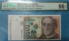 1992 SPAIN 5000 PESETAS PMG66 EPQ GEM UNC <P-165>