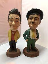 """Laurel & Hardy Esco Pair Chalkware Original Statues 17 1/2"""" and 16 1/2"""""""