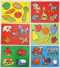 CONNOR TOY 6 Wood PUZZLES Vegetables ZOO FARM ANIMALS fruits PETS farm BUILDINGS