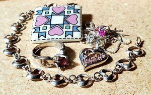 Pink Sapphire 925 SS Jewelry Set, Ring Sz 5, Necklace, Earrings, Bracelet, & Pin