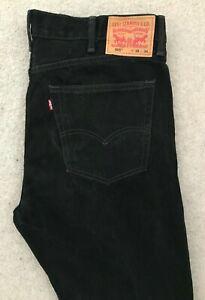 Levis 505 Regular Straight Denim Jeans Mens W38 L32 Black Red Tab