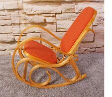 Sedia a dondolo in legno colore quercia tessuto arancione