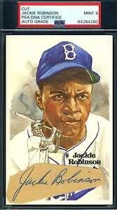 Jackie Robinson Mint 9 PSA DNA Coa Autograph Signed Perez Steele Cut Postcard