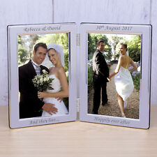 Happily Ever After Silverplated Double Photo Frame 6x4 - Personalised Wedding