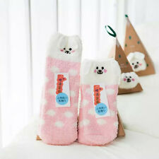 Winter Xmas Christmas Santa Printed Coral Fleece Socks Gift Set Box Womens Girls