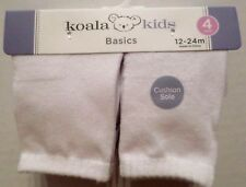 Koala Kids Baby Cushioned Sole Ankle Socks White 4 Pair Unisex 12-24 Month