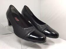 MUNRO AMERICAN Jillian Black Patent Cap Toe Leather Pumps Heels Shoes Sz 9.5 M