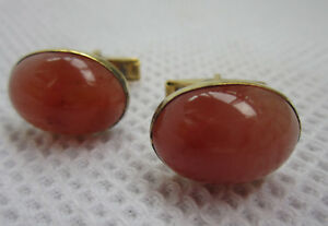 Russian Soviet Silver Cufflinks Carnelian Orange Red stone 875 Запонки Серебро