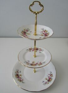 Large Matching 3 TIER CAKE STAND Queen Anne England Roses High Tea Party