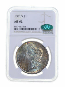 MS62 1881-S Morgan Silver Dollar - CAC - Graded NGC *5364