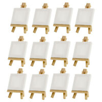 12X Mini Display Easel with Canvas 10x10cm Painting Hobby Wedding Decoration
