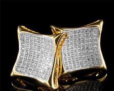 14K Gold Large Simulate Lab Diamond Micro pave Grade AAA Square Kite Earrings