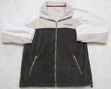 Sherry Resortwear Beige White Jacket Coat Large Solid Zip Front Polyester Fleece
