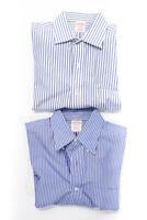 Brooks Brothers mens Striped Dress Shirts Blue White Size 15 4/5 15 2/3 Lot 2