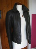Ladies M&S brown real leather JACKET COAT size UK 16 18 large biker harrington