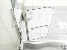 6mm Glass Double Over Bath Shower Screen With Shelf