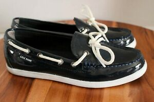 Cole Haan Nantucket Camp Slip On Patent Leather Moccasins 7 B Dark Blue W05747