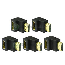 5 Pack HDMI Right Angle Adapter M/F 90 Degree Gold Plated For LCD (AHM12L-5PK)