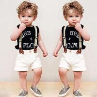 2 Piezas Niños Bebé Niño Caballero Camiseta + Babero Pantalón Corto Ropa Trajes