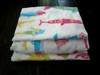 Pottery Barn Kids Funny Fish Twin Fitted Flat Sheet Pillow Case Set