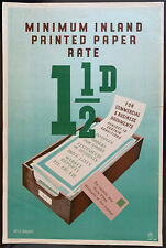 More details for 1950's gpo general information poster p.r.d. 668 - minimum printed paper rate