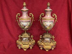 Pair Antique Candelabra Garniture Ansonia FRENCH Bronze Ormolu Mantel Clock EWER