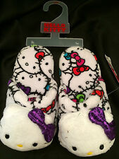 HELLO KITTY Sanrio Slippers Terry Multi Color Slip On Slippers Girls Sz 2 - 3