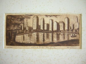 Unknown Unidentified American: Central Park New York 1950's / Vintage S/Etching