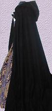 RENAISSANCE LOTR HOODED BLACK VELVET CLOAK CAPE ROBE one size cosplay costume