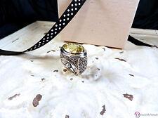 SARA BLAINE Lemon Quartz Sterling Silver Bali Scroll Ring ~ Size 9