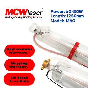MCWlaser 60W (60W-80W) CO2 Laser Tube 1250mm From EU Engraving Cutting