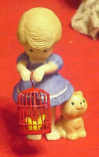 Enesco Country Cousins Polly Holding Birdcage and bird in it with Cat