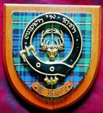 More details for vintage old scottish carved clan mackenzie  tartan plaque crest shield vz