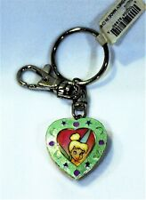 Disney Tinkerbell Locket Key Chain Glitter Heart Collectible Key Ring
