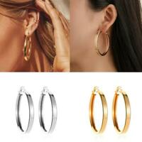 Punk Rock Minimalist Thick Tube Big Gold Alloy Round Circle Hoop Earrings Top