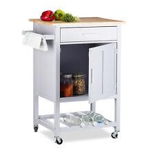 Küchenwagen mit Weinablage Servierwagen Holz Rollwagen Schublade Nischenwagen