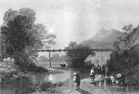China, RICE FARM BAMBOO WATER AQUEDUCT CROSSES RIVER ~ 1842 Art Print Engraving