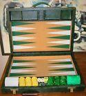 VINTAGE CRISLOID BAKELITE GREEN YELLOW Tournament Backgammon GAME W/ CASE