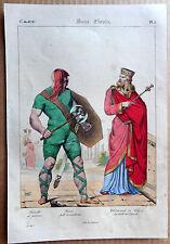 GRAVURE COULEUR 1834 DELAUNOIS COSTUMES CLOVIS EN CONSUL GUERRIER FRANC k911