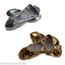 GOLD / SILVER BALLET SHOES kids girls womens dance slipper slippers flats shoes