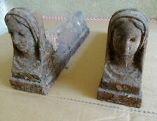 Antique Pair Fire Dogs Cast-Iron Head Woman Support Fireplace Cast Iron Andirons