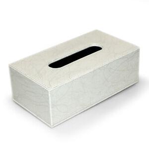 Kosmetiktuchbox Taschentuchbox PU-Leder Weiß Goldvlies Tissuebox Kleenexbox