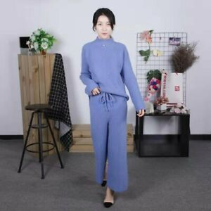 Womens Cashmere Blend Sweater+Pant Suits Knitwear Wide Leg Pants Free Size Warm