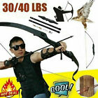 30/40lbs Archery Recurve Bow Takedown Longbow Training Practice Hunting Target