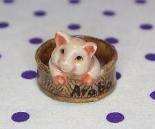 "Whimsical Miniature 1"" Pink Pig Figurine Souvenir Aruba Piglet Bath Hot Tub"